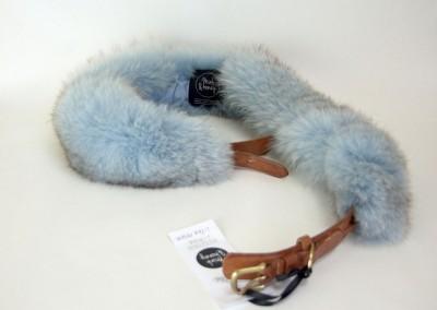 Sky Blue Fox Fur Collar With Belt