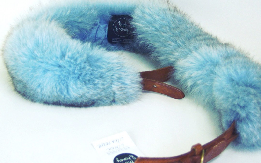 Sky Blue Fox Fur Collar with Belt
